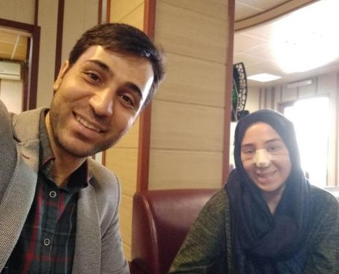 سيلفي مع مريضتنا الألمانية التركية سباهت بعد إجرائها لعملية تجميل الانف الترميمية في طهران