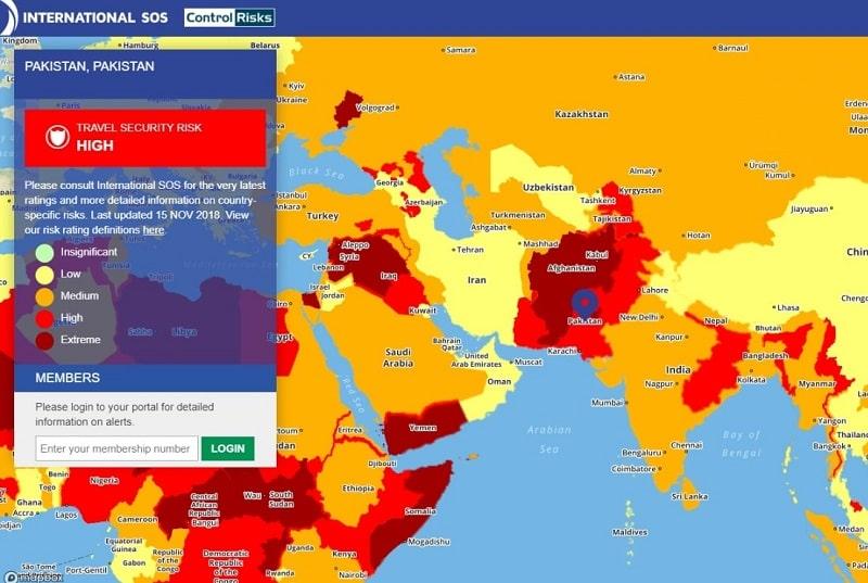 خريطة مخاطر السفر 2019
