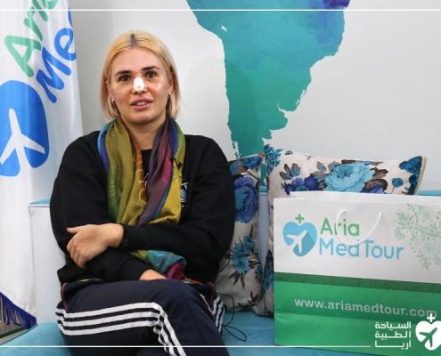 شابة من روسيا في مقر شركة آريا مدتور في طهران