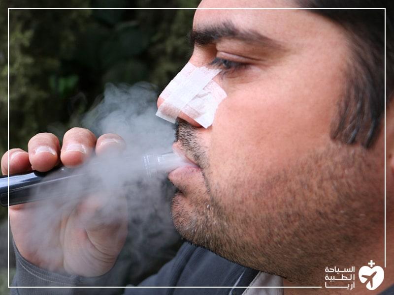 تدخين السجائر الالكترونية بعد عملية تجميل الانف