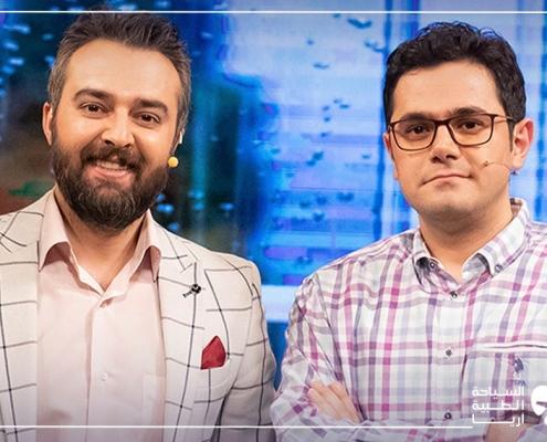 محمد نصري مدير آريا مدتور مع مقدم البرنامج التلفزيوني نحن الإيرانيين