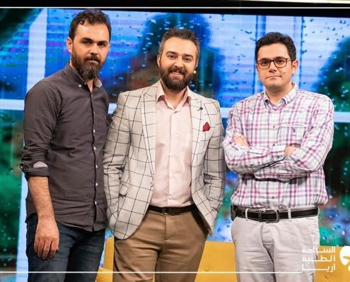 مدير آريا مدتور مع معد ومقدم البرنامج التلفزيوني نحن الإيرانيين