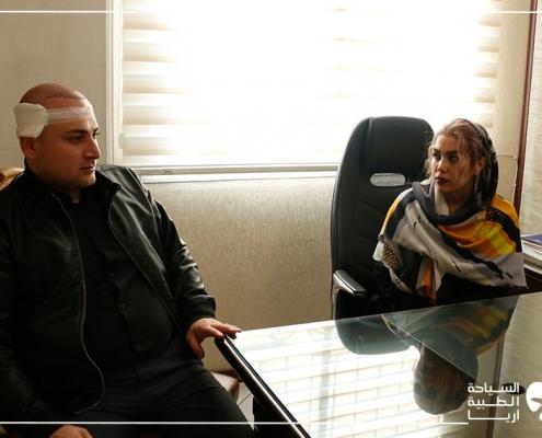 مريض أذربيجاني في مركز زراعة الشعر في ايران
