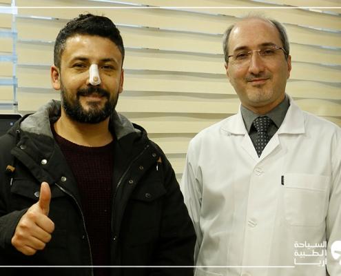 مريض كردي سوري دانماركي مع جراح ترميم الانف في ايران