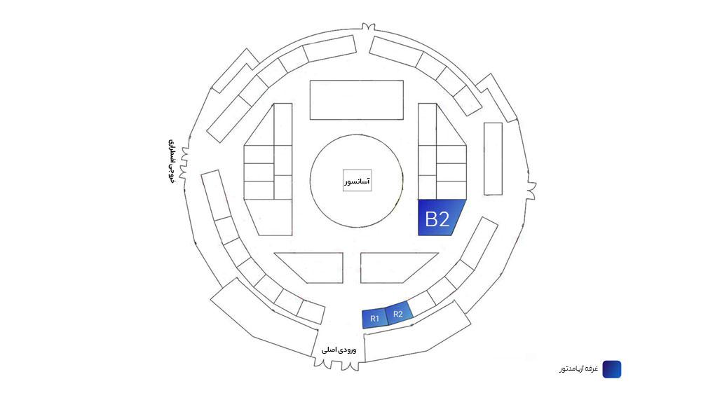 نقشه نمایشگاه بین المللی اردبیل با غرفه های مختلف از جمله غرفه های شرکت آریامدتور