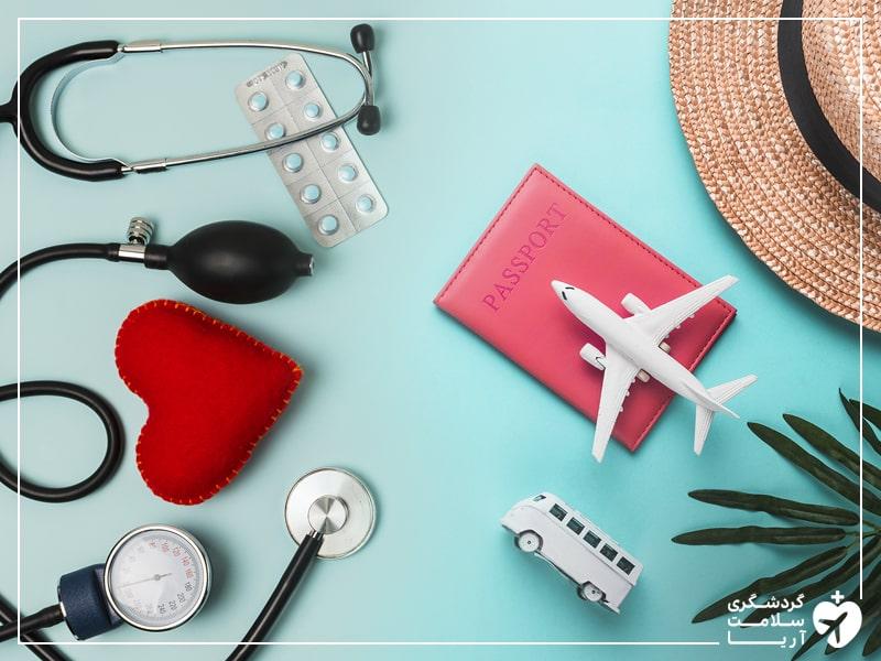 توضیح تصویریگردشگری پزشکی با عناصری مانند پاسپورت، هواپیما، گوشی پزشکی و دارو