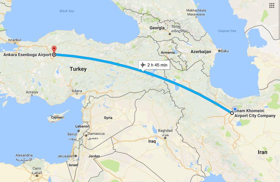 مسافت تهران تا انکارا