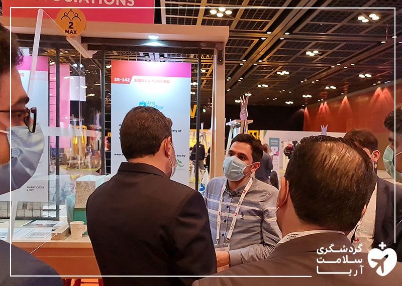 بازدید دکتر علی وحدت، رییس صندوق نوآوری و شکوفایی ریاست جمهوری ایران، از غرفه آریامدتور در نمایشگاه جیتکس 2020 دبی