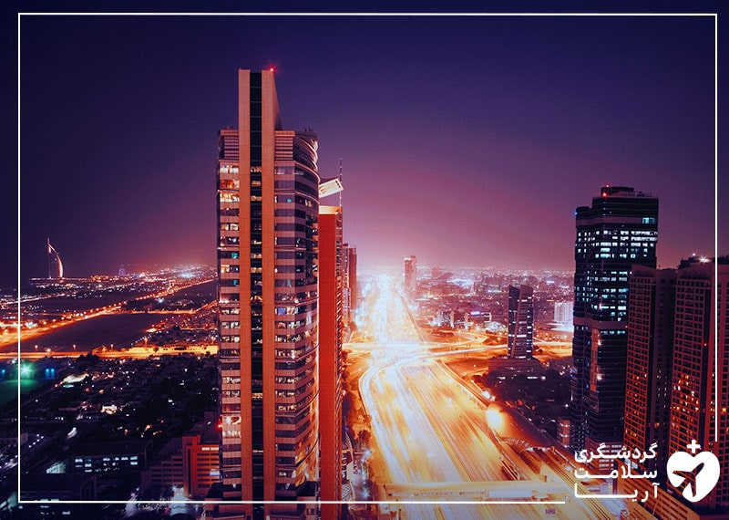 نمایی از شهر دوبی در امارات که واکسیناسیون گردشگران در آن صورت میگیرد.