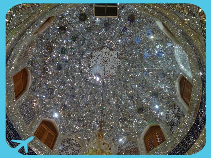 ceiling of shah cheragh holy shrine iran