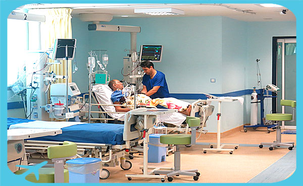 heart and cardiology unit in Moheb hospital with patient receiving healthcare