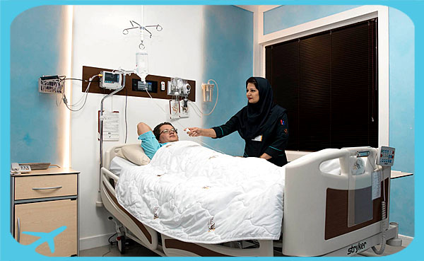 medical care in iran, Nikan hospital nurse taking care of patients
