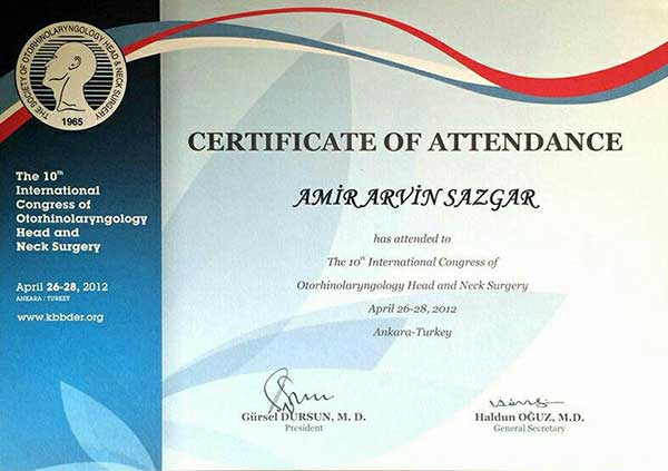 certificate of congress of neck and head surgery for iranian surgeon