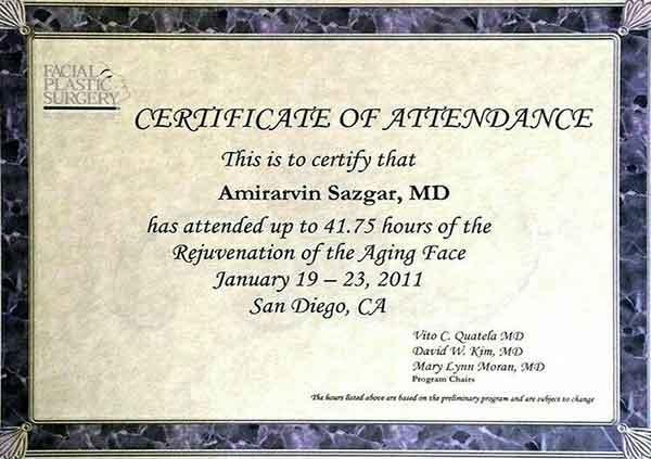 dr amirarvin sazgar certificate