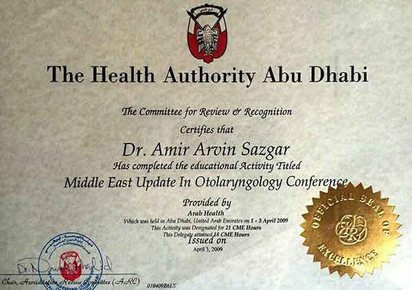 Dr Amir Arvin Sazgar certification by the health authority of abu dhabi