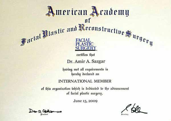 Dr Amir Arvin Sazgar certification by american academy of facial plastic and reconstructive surgery