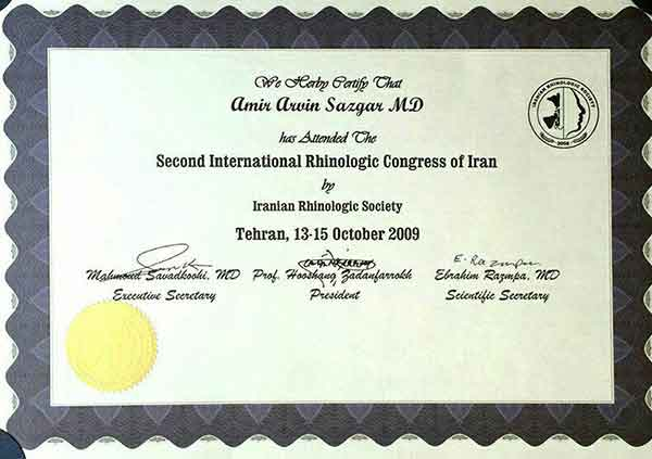 certificate of rhinologic congress of iran
