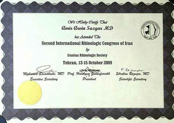 iranian rhinoplasty congress certificate