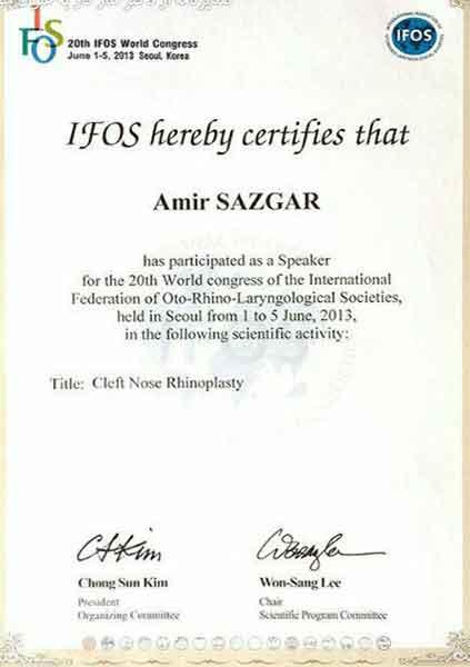 dr amir arvin sazgar certificate