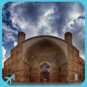 historical mosque in hamedan - cloudy day view