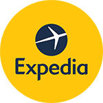 expedia travel logo consisted of a yellow circle with an airplane