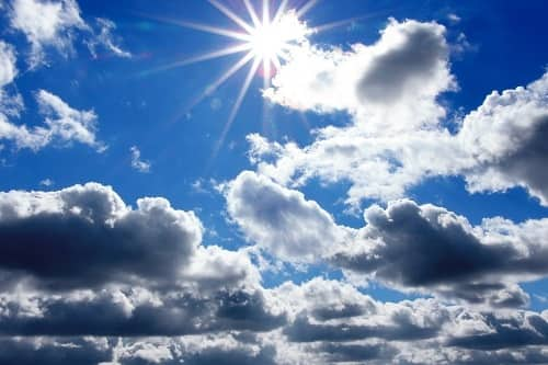 blue sky with white clouds and sun light