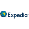 logo of expedia consisted of globe, airplane and the word itself
