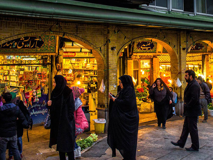tajrish bazaar near tajrish square and imamzadeh saleh holy shrine