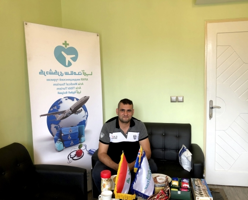 Arab patient visiting AriaMedTour office after surgery