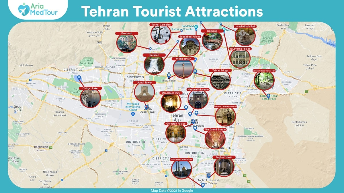 an infographic showing Tehran tourist attractions on map