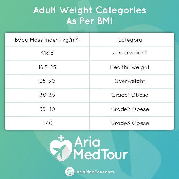 adult weight categories as per BMI