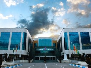 razavi hospital in mashhad in a cloudy day