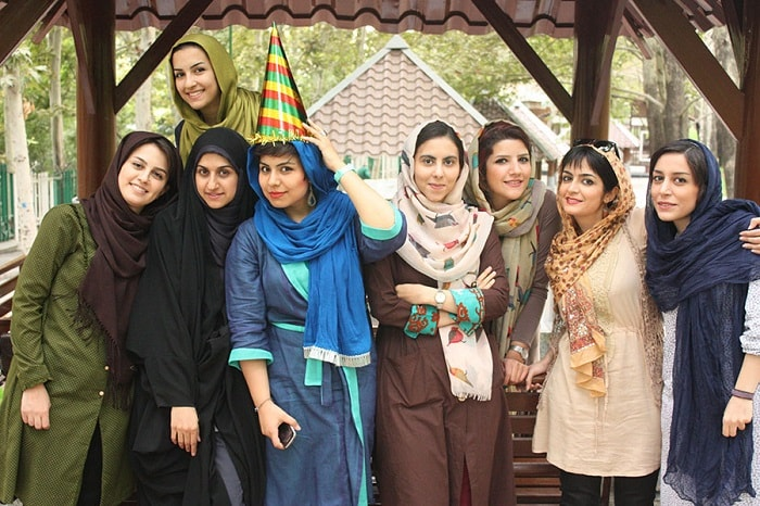 iranian young women wear different kinds of clothes in public
