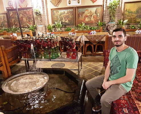 ariamedtour's patient in traditional coffee house of tehran iran