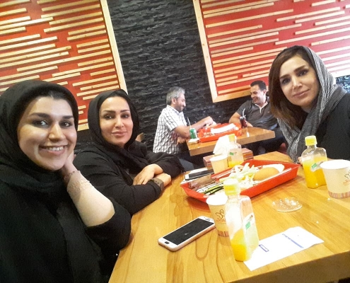 medical tourists from Kurdistan and interpreter at restaurant in Iran
