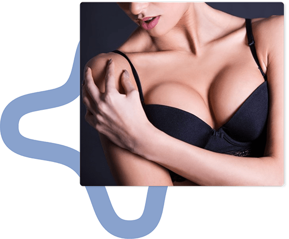 augmented breasts through breast implants