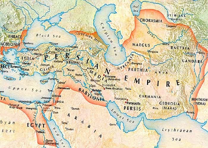 map of borders of ancient Persia or Iran