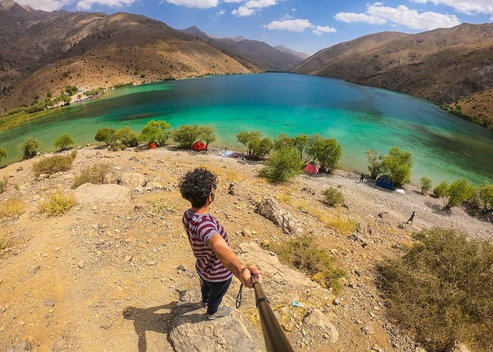 a selfie with Gahar lake in Oshtorankuh, Lorestan