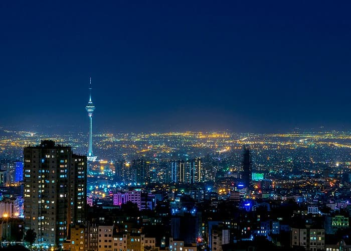 tehran night life, tehran night view and Millad tower