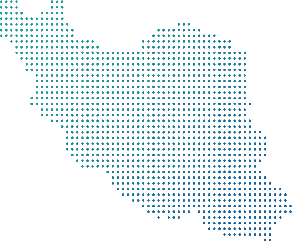 Iran map with blue dots