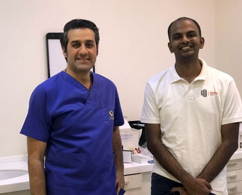 Indian hair transplant patient with Iranian doctor