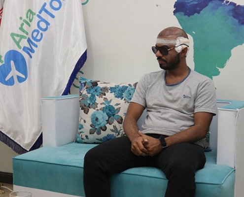 Saeed from Oman visits AriaMedTour office after successful hair transplant in Tehran