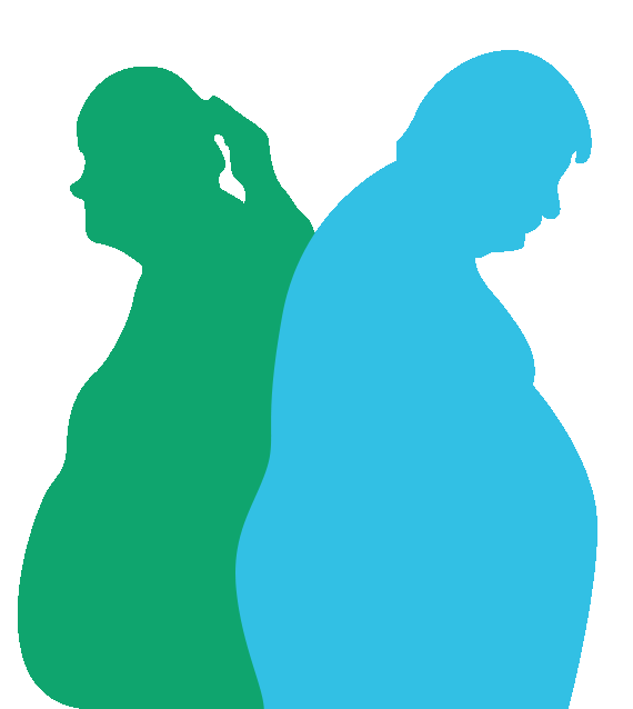 man and woman painted with obesity