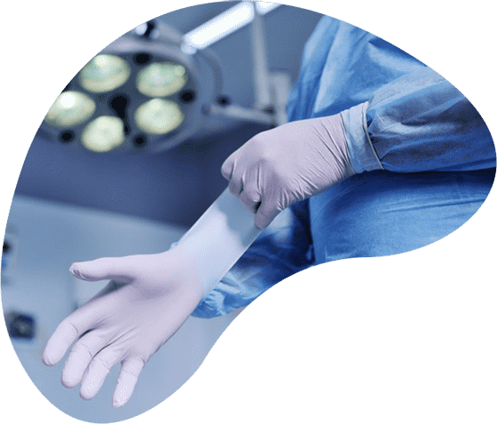 iranian doctor wearing medical glove before weight loss surgery
