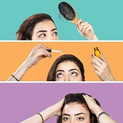 Juxtaposed pictures of a woman, one with a hair brush in hand, one applying minoxidil to her scalp, one pushing back her hair