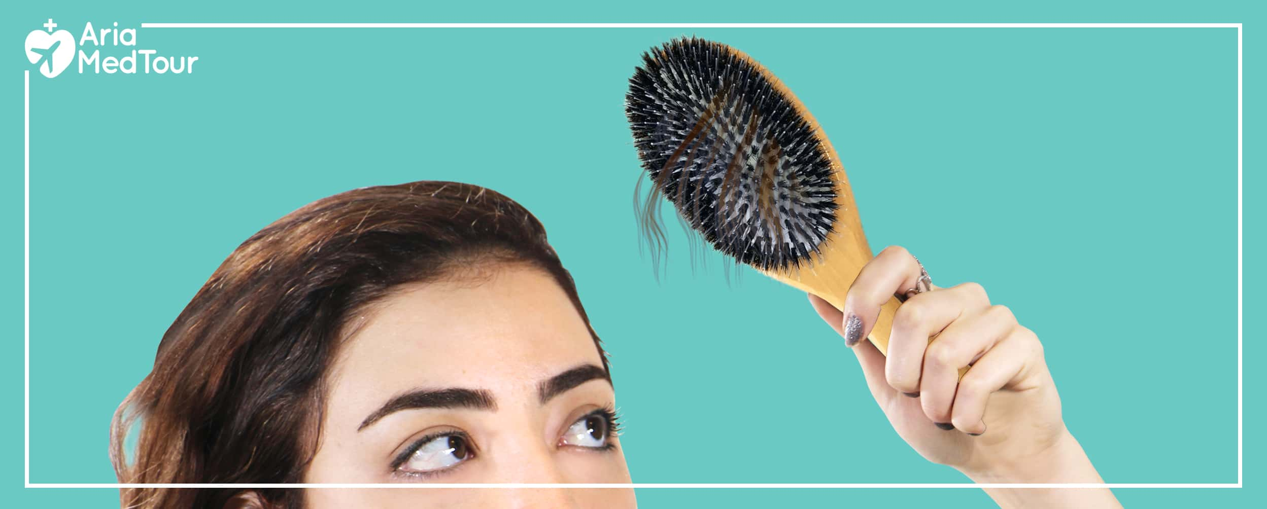 woman holding a hair brush near her head, with hair strands stuck in the hairbrush, indicating a hair loss problem
