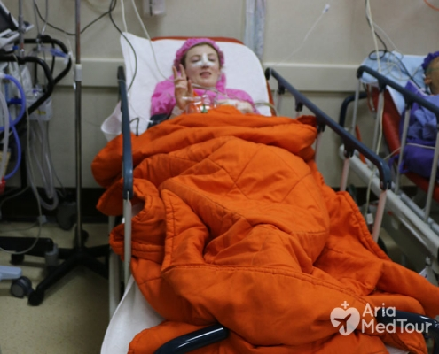 nose job patient after surgery resting in her private room in hospital iran