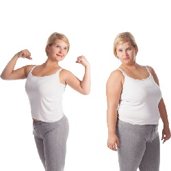 obese and sad vs slim and happy versions of same woman