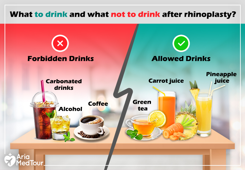 image showing what you should drink or you should not drink after nose job