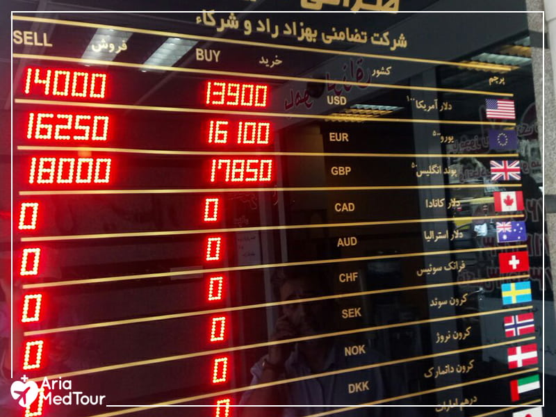 display window of a money exchange office in Iran with change rates of different currencies showed in LED board